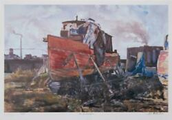 Neville Clarke Old Boat Yard Offset-lithograph Signed Numbered And Titled In
