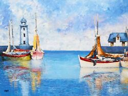 Vilany Fishing Boats Ii Oil On Canvas Signed L.l.