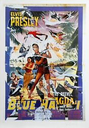 Mimmo Rotella Blue Hawaii Elvis Screenprint With Collage Signed In Pencil L