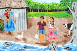 Isiah Nicholas, Mayan Indians Kids Going To School, Acrylic On Canvas, Signed
