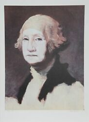 George Deem George Washington With Powder Lithograph Signed And Numbered In P