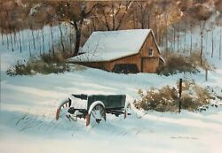 James Feriola Snowy Barn And Wagon Watercolor On Paper Signed