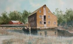 James Feriola Old Sawmill Watercolor On Paper Signed In Black Ink