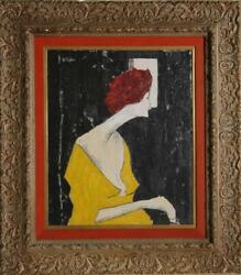 G. Taylor Woman Looking Out A Window Oil On Canvas Signed U.l.