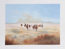 Gwendolyn Branstetter Bringing In The Herd Lithograph Signed And Numbered In
