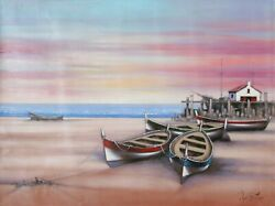 Rugero Valdini Fishing Boats Oil On Canvas Signed L.r.