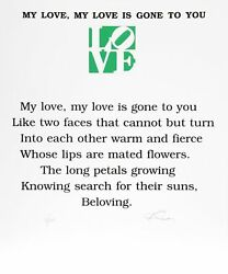 Robert Indiana The Book Of Love Poem - My Love My Love Is Gone To You Screenp