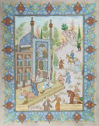 Unknown Iranian Persian Theme Painting 4 Gouache On Board