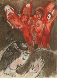 Marc Chagall Sarah And The Angels From Drawings For The Bible Lithograph