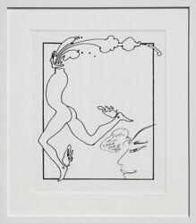 Peter Max Runner Print With Marker Drawing Signed And Dated
