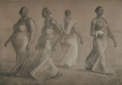 Francisco Zuniga Mujeres Caminando Ii Lithograph Signed And Numbered In Penci