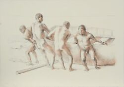 Francisco Zuniga Hombres Con Barca Ii Lithograph Signed Numbered And Dated I