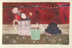 Rene Genis Nature Morte Aux Raisins Lithograph Signed And Numbered In Pencil
