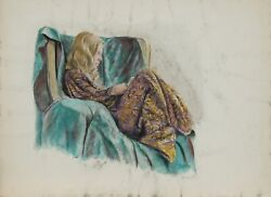 Harry Mccormick, Woman In Draped Chair, Pastel On Paper