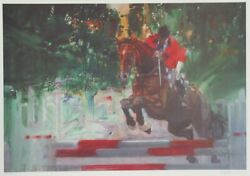 Robert Peak, Horse Jumping, Lithograph, Signed And Numbered In Pencil