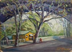Margaretha E. Albers Country Road Oil On Board Signed