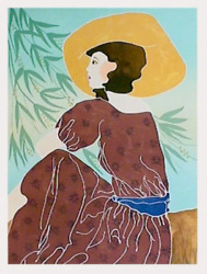 Gina Lombardi Bratter Yellow Hat Lithograph Signed And Numbered In Pencil