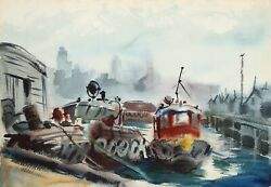 Eve Nethercott Tugboat And City Street 28 Two-sided Watercolor