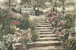 Susan Sahall Patio Steps Lithograph Signed And Numbered In Ink