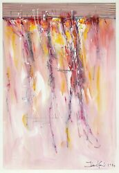 Unknown Artist Untitled - Abstract In Pink Acrylic And Watercolor Signed L.r.
