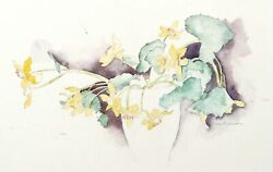 Carl Bergman Yellow Lilies Watercolor On Arches Signed