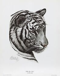 Guy Coheleach White Tiger Head Lithograph Signed In Pencil