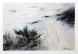 Michael Schreck Windy Day Pastel On Paper Signed And Dated