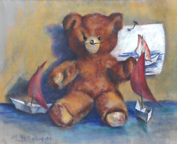 George R. Imhof Teddy Bear Pastel On Paper Signed And Dated L.l.