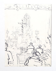 Dimitrie Berea Interior Of Church 30 Marker On Paper Signed