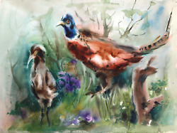 Eve Nethercott Pheasant P6.21 Watercolor On Paper
