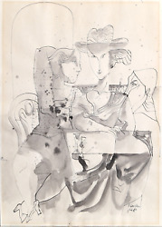 David Gerstein, After Dinner, Ink And Wash On Paper, Signed