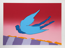 Peter Max Pink Sky Flyer Screenprint Signed And Numbered In Pencil