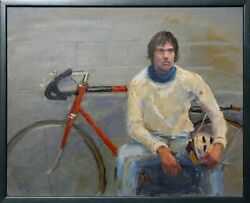 Paly Man With Bicycle Oil On Board