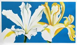 Lowell Blair Nesbitt Two Irises On Blue Screenprint Signed And Numbered In Pe