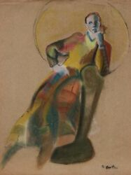 Unknown Artist Portrait Of Woman In Chair Chalk Pastel On Paper Signed And039e. Go