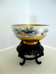 Stunning Antique Gold And Porcelain Footed Bowl-handpainted W/birds On Vine-signed