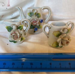 Vintage Doll/childs China Tea 3 Piece Set Made In Japan Some Damage See Pic