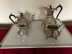 Vintage 4 Piece Highly Decorated Silver Plated Tea/coffee Service On 4 Feet X400