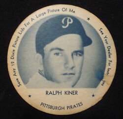 1952 Dixie Lid -tab Ralph Kiner Pittsburgh Pirates Rare One Of Only A Few Known