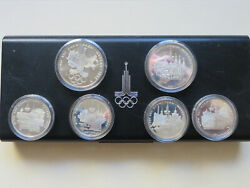 Russia. 1977 Moscow Olympics - Silver Proof Set. 2 X 10 Rouble 4 X 5 Rouble