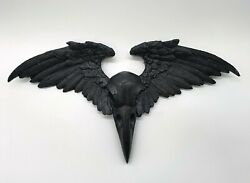 Wall 3D decor Crow Raven Skull Wings Ornament Plaque Victorian Alchemy Gothic