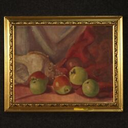 Painting Framework Oil On Panel Still Life With Frame Antique Style Signed