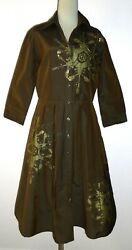 Samantha Sung Audrey Dress Khaki-brown Color With Print And Beads, Rare, Size 8