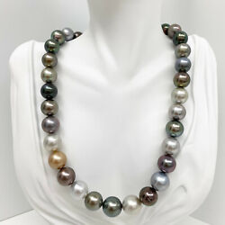 Tahitian Pearls Necklace Loose Strand Round 12mm-14mm Multi-colored 16 Aaa