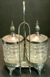 Antique Meriden Co. Silverplate And Glass Double Pickle Castor W/ Tongs Excellent