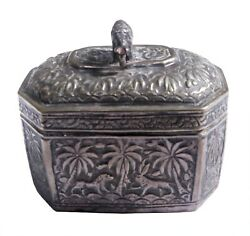 Antique Unique Handcrafted Silver Box Holy Engraved Carved Rare Indian Decorativ