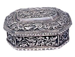 Antique Unique Pure Silver Box Hand Carving Engraved Indian Box India Collectibl