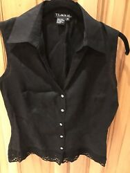 Tracy M Black 100 Linen Blouse Sleeveless Top Crystal Buttons Womenandrsquos M Nwot
