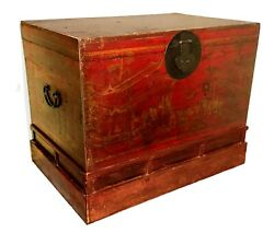 Antique Chinese Hand Painted Red Trunk 2649 Circa 1800-1849