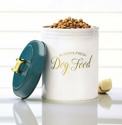 Amici Maltese Metal Dog Food Storage Canister With Gold Bone Shaped Knob